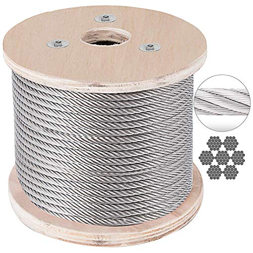 BestEquip Stainless Steel Cable 7 x 19 Aircraft Steel Cable Wire Rope SUS316 Winch Rope 1/8 Inch 500FT for Railing Decking DIY Balustrade ()