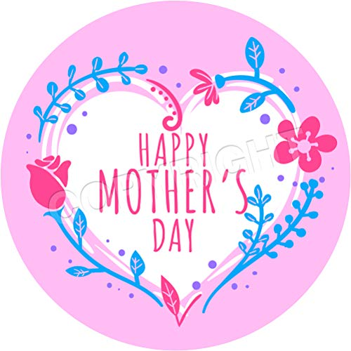 Happy Mother's Day Heart Pink Sticker Labels (6 Stickers, 3.7'' Inch Each) Seals Ideal for Party Bags, Sweet Cones, Favours, Jars, Presentations Gift Boxes, Bottles, Crafts