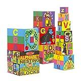 Melissa & Doug Bloques alfabeticos en ingles que se encajan y apilan