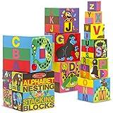 Melissa & Doug Alphabet Nesting and Stacking Blocks, Developmental Toys, Easy Storage, Durable Construction, 10 Cardboard Nesting Boxes, 5.9? H × 5.9? W × 5.9? L