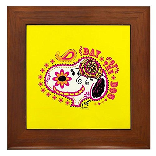 CafePress - Day of The Dog Snoopy Face - Framed Tile, Decorative Tile Wall Hanging