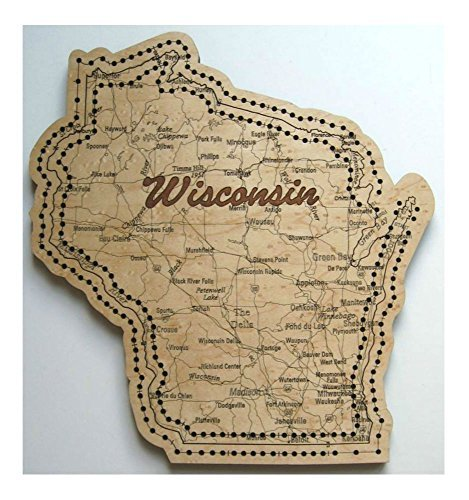 (Wisconsin State Shape Road Map Cribbage Board)