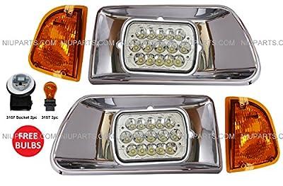 Kenworth T300 LED Headlight with Chrome Bezel and Turn Signal Corner Lamp - Driver & Passenger Side