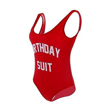 09d8acd8eeb77 MagiDeal Womens Birthday Suit High Cut One Piece Bikini Swimsuit Beachwear  Monokini  Amazon.co.uk  Clothing