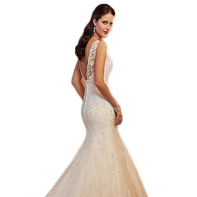 165b64ee363 WeWind Vestidos de Novia Dama de Honor Maxi Tul Lino Encaje Cola de Pez sin  Espalda