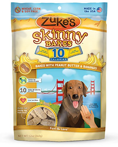 Banana Treats (Zuke's Skinny Bakes Dog Treats, Peanut Butter and Banana, 10-Calories,)