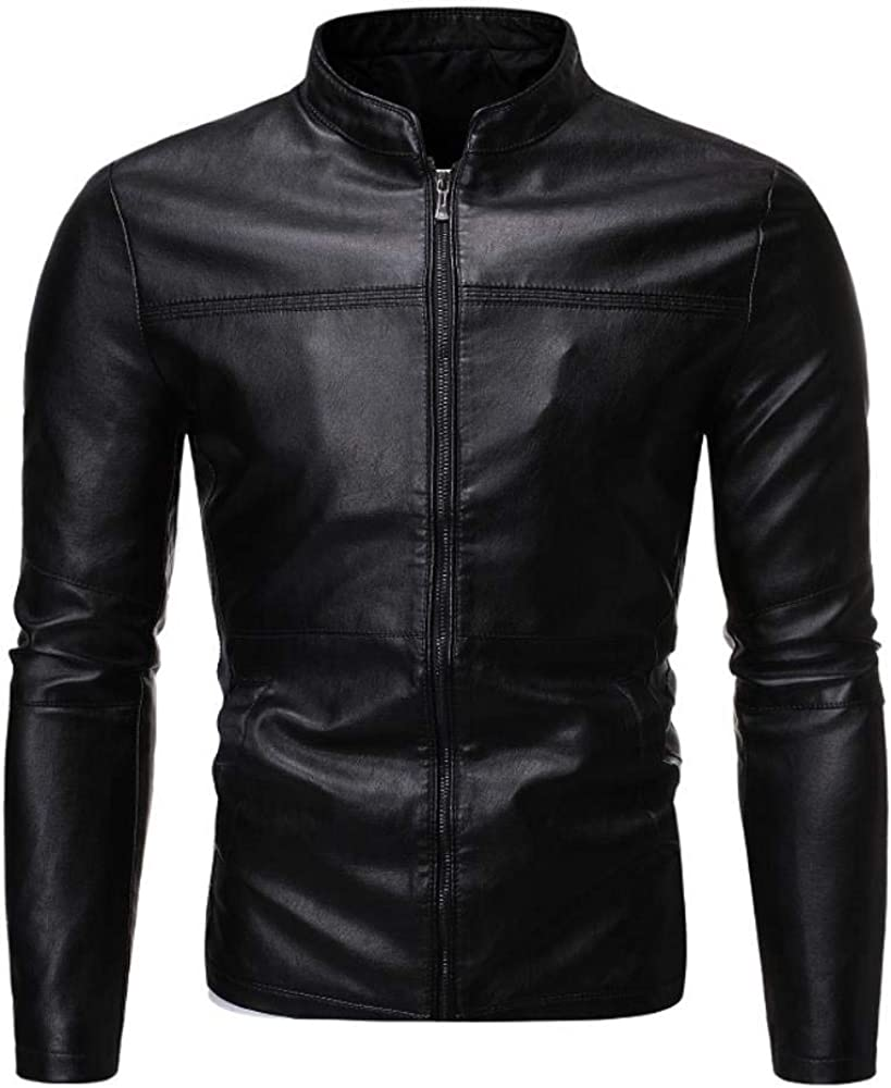 Shawujing Automne Et Hiver Mode Masculine Tendance Col Montant Moto Cuir Mince Confort Noir