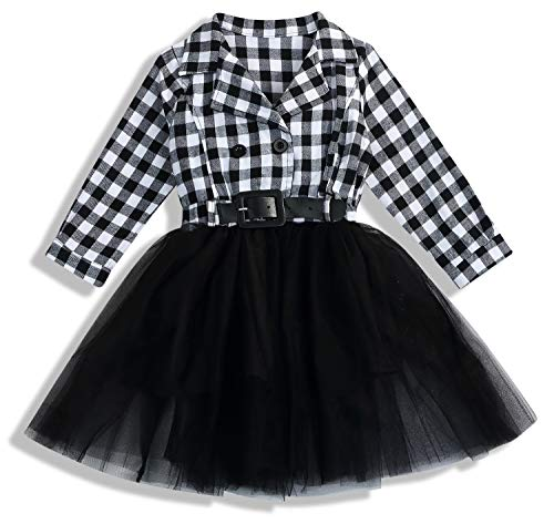 Little Kids Baby Girl Dresses White and Black Plaid Tutu Skirt Party Princess Formal Outfit Clothes (Black, 4-5 T/110-120)]()