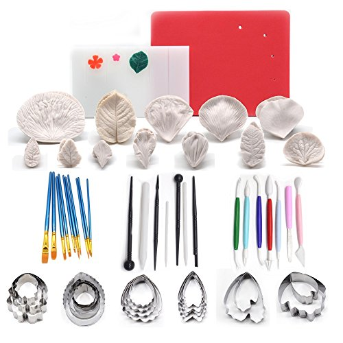 (AK ART KITCHENWARE 12sets Silicone Veining Mold 5sets Petal Steel Cutters 1 Veining Board 1 Foam Pad 10 Brushes 3 Frilling Sticks 4 Cake Carved Pens 8 Modelling Tool)