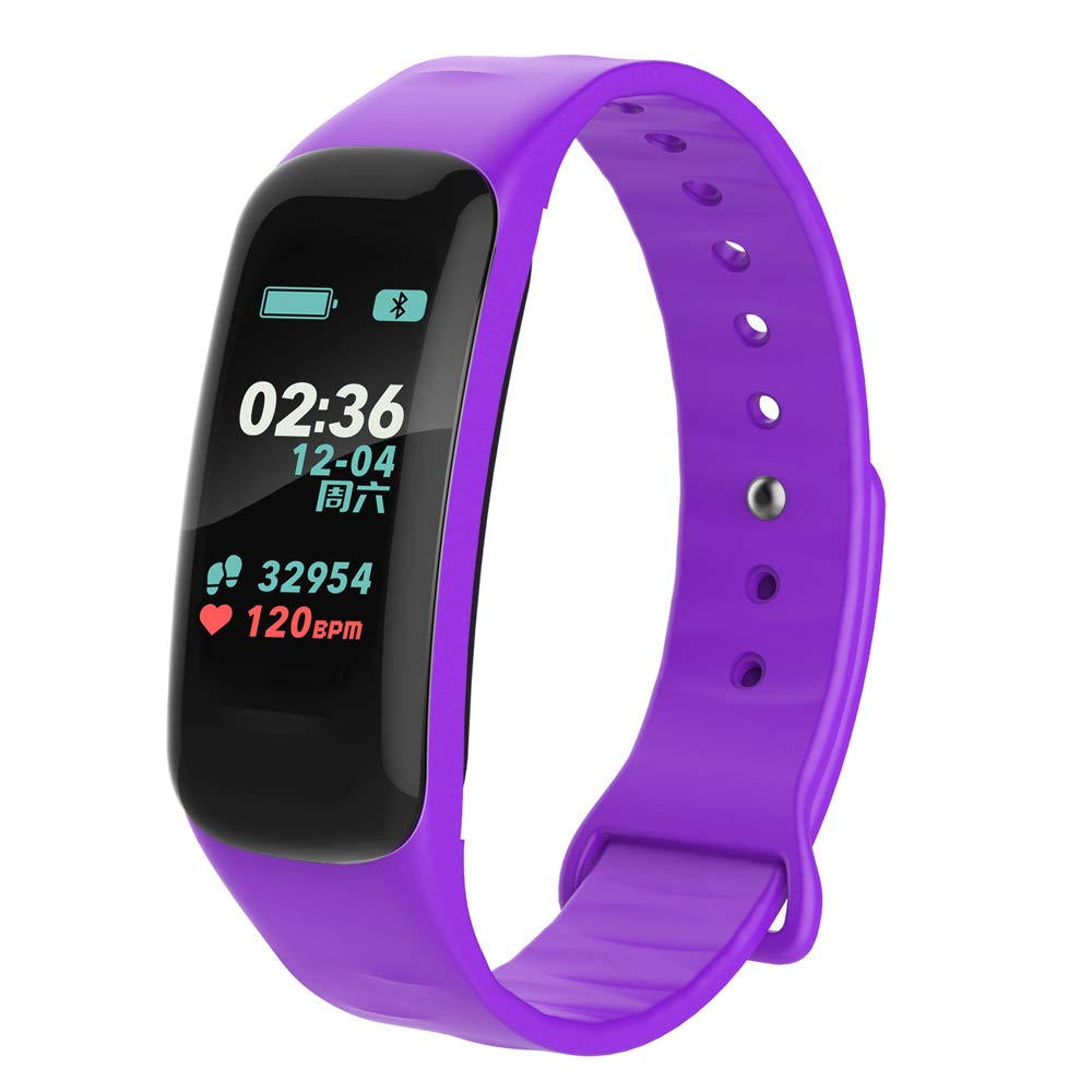 SKI-OUYA Fitness Tracker,Color Screen Activity Tracker Watch with Blood Pressure Blood Oxygen, IP67 Waterproof Smart Band with Heart Rate Purple-1