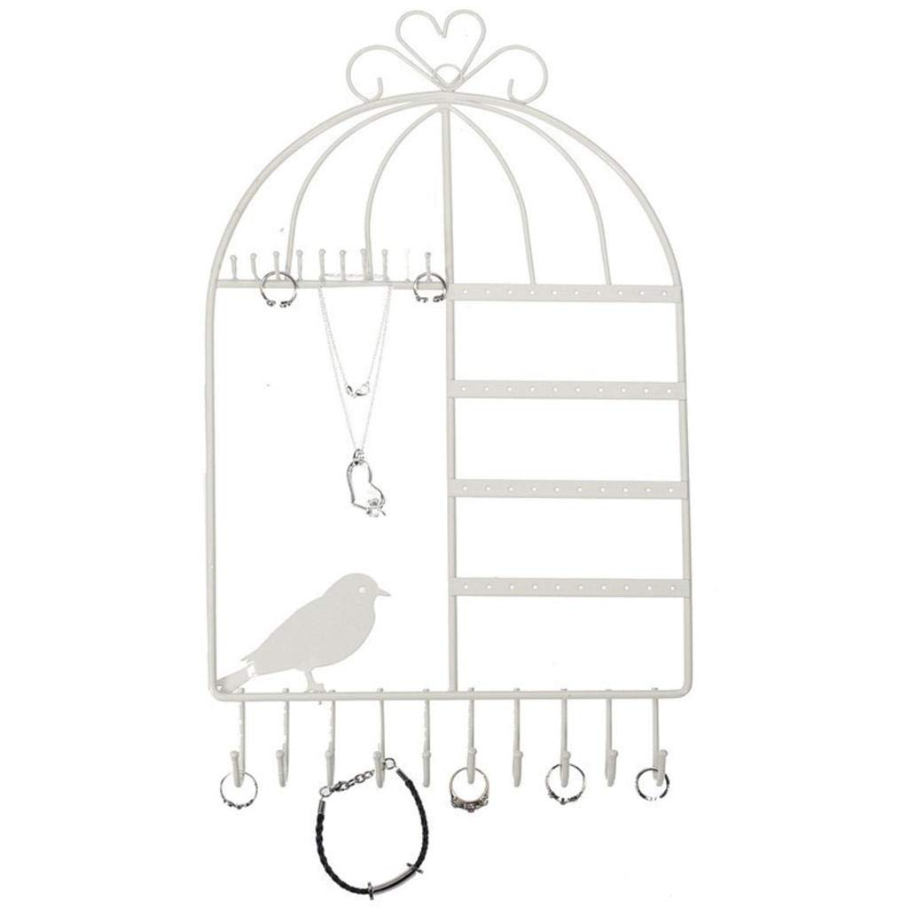 ROBAG Jewelry Stand Metal Organizer Iron Creative Wall Hanging Bird Cage Jewelry Stand Earring Bracelet Jewelry Display Stand (Black/White/Pink) White