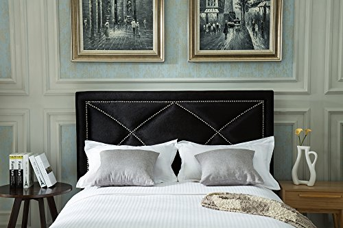 AZUFI Luxurious Pleuche Adjustable Headboard with Curved Pewter Nailheads, Full / Queen Size, Black