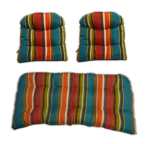 3 Piece Wicker Cushion Set - Indoor / Outdoor Wicker Loveseat Settee & 2 Matching Chair Cushions - Teal, Orange, Red, Yellow Stripe - Westport Settee