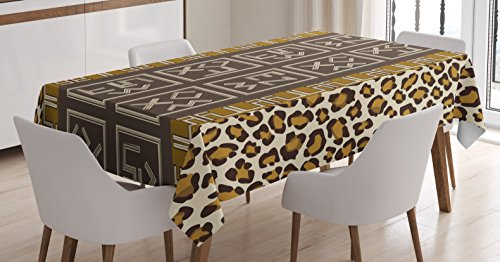 - Ambesonne Tribal Tablecloth by, African Safari Leopard Motif with Abstract Folk and Wild Effects Artwork, Dining Room Kitchen Rectangular Table Cover, 60W X 84L Inches, Chocolate Light Coffee
