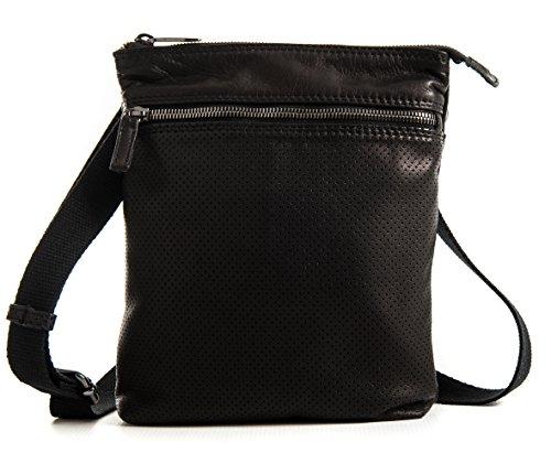 Mattia Nero Traforato - Borsello schermato da uomo in vera pelle - Passione Bags - Made in Italy
