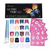 Face Paint Kit,2018 New 16 Colored Professional Body Painting Set for Kids with 36 Stencils and 3 Brushes,Best Party Palette Kits Non-Toxic,FDA Approved