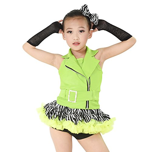 [MiDee Jazz Dance Costume Hip Hop Outfits For Girls 5 Pieces Halter Zebra Skirt (MC, Apple Green)] (Jazz And Hip Hop Costumes)