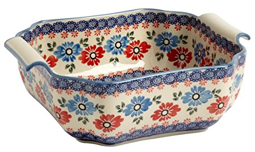 Polish Pottery Blue and Red Flowers Square Serving Bowl, 9.75