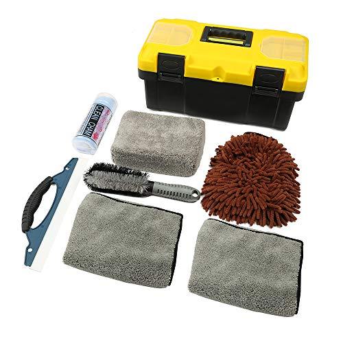 VLUXPARTS 8 Pack Car Cleaning Tools Kit Auto Detailing Brush Set Blow Storage Box Car Vent Brush Tire Brush Wash Mitt Clean Sponge Microfiber Cloths Window Water Blade Brush