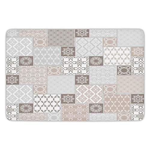 Patchwork Mat Pastel - Bathroom Bath Rug Kitchen Floor Mat Carpet,Arabian Decor,Oriental Motif Pastel Patchwork Pattern with Filigree Ornaments Illustration Art,White Beige Grey,Flannel Microfiber Non-slip Soft Absorbent