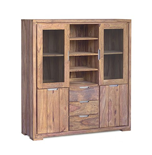 Highboard Schrank Buffet Indian Summer Sheesham massiv gebeizt Holz