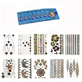 WST 10Pcs Temporary Tattoo Gold Silver Jewelry Waterproof Henna Metallic Tattoo +8Pcs Cleansing Wipes