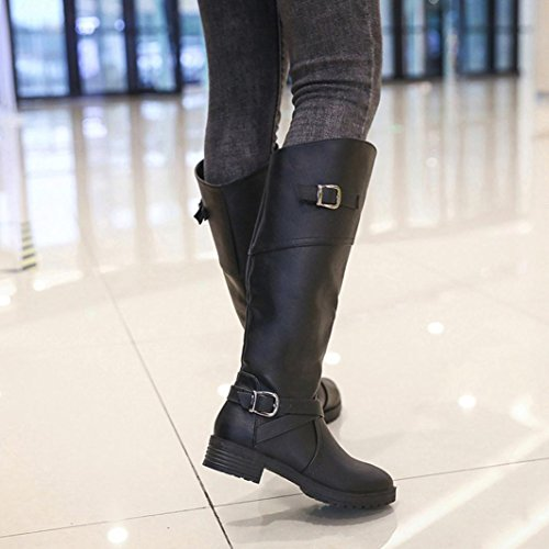 Flat Black Buckle LuckyBB Boots Shoes Ladies Knight Women Martin wWxHBp