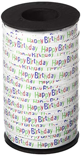 Berwick 3801412 Happy Birthday Printed Curling Ribbon, 3/8-Inch Wide by 250-Yard Spool, Red/Blue/Green
