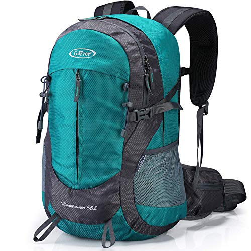 G4Free 35L Hiking Backpack Water Resistant Outdoor Sports Travel Daypack Lightweight with Rain Cover for Women Men (Peacock Green)