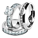 His & Hers Stainless Steel 3.75 Ct Cz Bridal Set & Men's Eternity Wedding Band Women's Women's Size 06 Men's 06mm Size 09