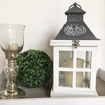 Holz Laterne Landhaus 34cm Shabby Vintage Design Glas Metall Windlicht