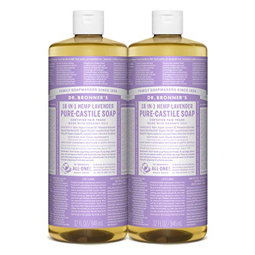 Dr. Bronner's - Pure-Castile Liquid Soap (Lavender, 32 ounce, 2-Pack) - Made with Organic Oils, 18-in-1 Uses: Face, Body, Hair, Laundry, Pets and Dishes, Concentrated, Vegan, Non-GMO (Best Bronzer For Olive Skin)