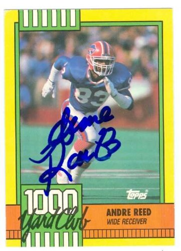 Autograph Warehouse 432286 Buffalo Bills 1990 Topps 1000 Yard Club 7 Creased Andre Reed Autographed Football Card (Reed Andre Autographed Football)