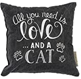 Primitives by Kathy Decorative Love and a Cat Chalk Throw Pillow, 10-Inch Square