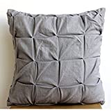 "Luxury Gray Euro Shams, 26""x26"" Euro Pillow Cases, Pintucks Knotted Textured Euro Shams, Cotton Linen Euro Sham Covers, Contemporary Euro Shams - Gray Linen Texture"