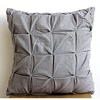 "Luxury Grey Accent Pillows, Textured Knotted Pintucks Solid Color Pillows Cover, 16""x16"" Pillow Cover, Square Cotton Linen Pillow Covers, Solid Contemporary Pillows Cover - Grey Linen Texture"