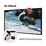 60 inch Projector Screen Rolled Up Portable Screen Diagonal 16:9 for Outdoor Indoor 4K Full HD Projection Screen Wrinkles Free