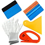 EEFUN 5 in 1 Installation Tool Kit For Car Window Wrapping Tint Vinyl With Snitty Cutter, Yellow Pp Squeegee, Black Fiber Edge Squeegee, Orange Suede Edge Squeegee, Working Gloves