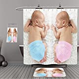 Uhoo Bathroom Suits & Shower Curtains Floor Mats And Bath Towels 280493963 Newborn twin babies, boy and girl, sleeping on a white blanket. For Bathroom