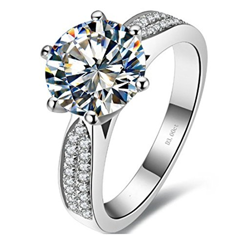 3CT Star Brand Sterling Silver Anniversary Ring for Wife NSCD Simulated Diamond Micro Paved by THREE MAN