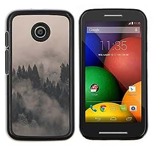 LECELL--Funda protectora / Cubierta / Piel For Motorola Moto E -- MISTY FOGGY FORREST --