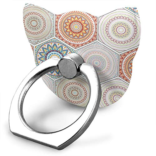 (Ring Holder Hexagon Design Elements with Moroccan Motif Cat Type Ring Phone Holder Phone Finger Holder for IPad Phone X/6/6s/7/8/8 Plus/7, Galaxy S9/S9 Plus/S8/S7 Android Smartphone)
