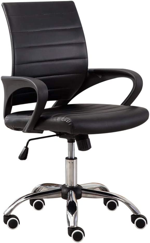 NXKang Fashion Casual Lift Chair Office Work Beauty Salon Black Desk Ergonomic Swivel Executive Adjustable Task Computer High Back with Support in Home