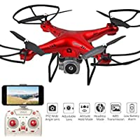 Aimik 2.4GHz Upgraded WIFI FPV Live Drone with 720° HD Wide Angle Lens Camera Drone Helicopter, Hovering control, Automatic Return (Red)