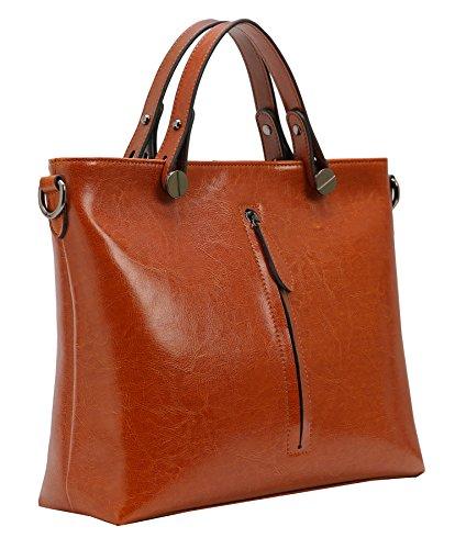 Heshe Womens Leather Shoulder Handbags Work Totes Top Handle Bag Satchel Designer Purse Cross Body Bags (Brown-R)
