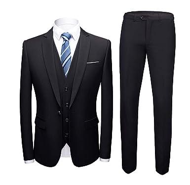 8339160fbb8e96 MAGE MALE Mens Solid 3-Piece Suit Slim Fit Notch Lapel One Button Tuxedo  Blazer