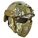 Airsoft Paintball Protective Helmet,Tactical Helmets with Steel Mesh Mask CS Game Set 8 Color