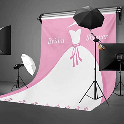Bridal Shower 8x10 FT Photography Backdrop Celebration Bride Party Wedding Dress with Shadow Backdrop Image Background for Child Baby Shower Photo Vinyl Studio Prop Photobooth Photoshoot
