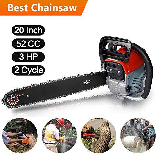 Kemanner 20-Inch 52CC Gas Powered Chainsaw 3HP 2 Strokes Handheld Gas Chainsaw with Tool Kit Bag – Perfect for Cutting Wood