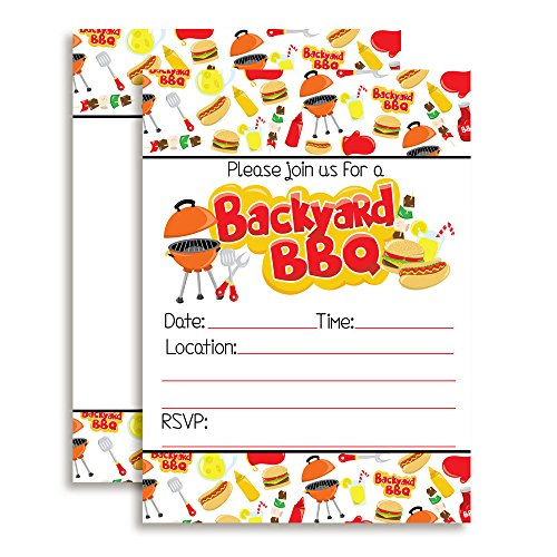 Backyard BBQ Party Fill In Invitations set of